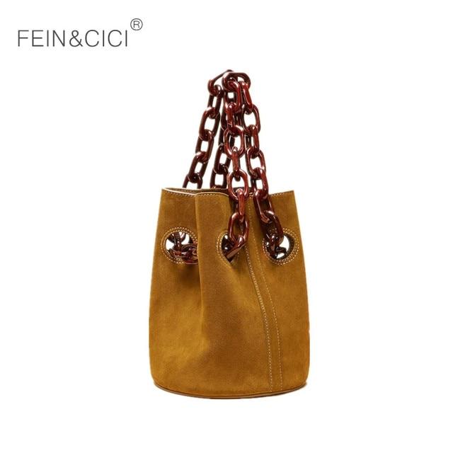 Acrylic chains bucket bag women totes handbag 2018 fall winter new luxury  brand leather crossbody bag brown coffee drop shipping ab57da2627f0e