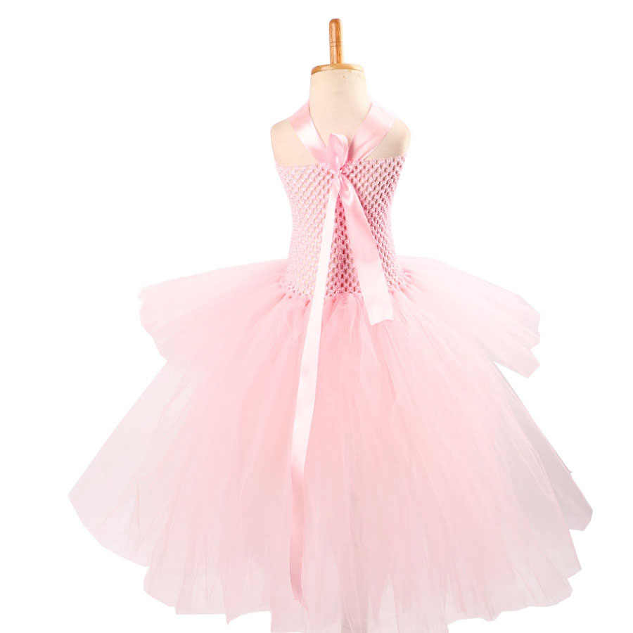 فستان بناتي توتو وردي فاتح رائع لتصوير الصور لحفلات أعياد الميلاد وحفلات الزفاف للأطفال ملابس تنكرية وردية رائعة