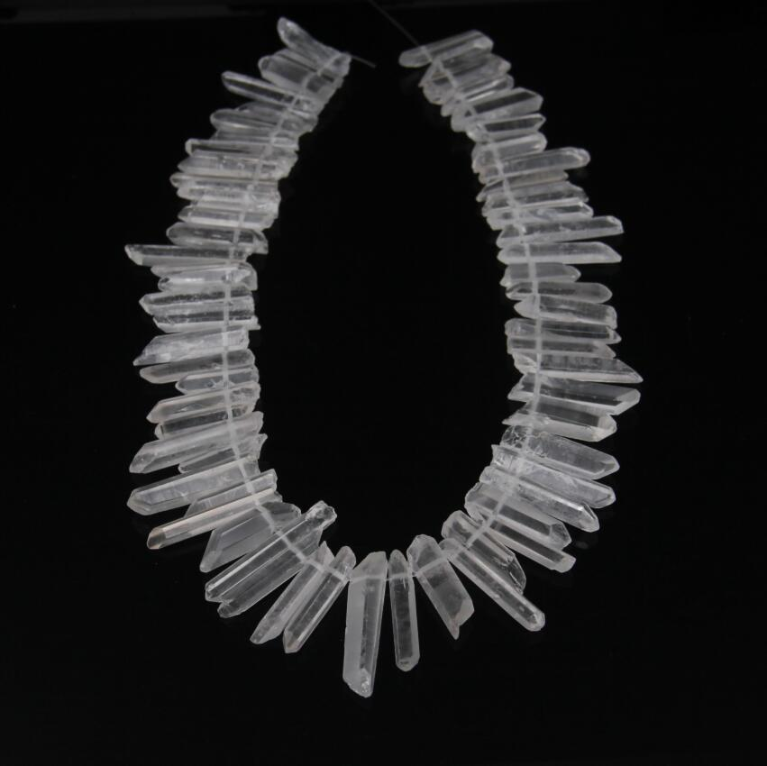 Jewelry & Accessories Natural Clear Quartz Top Drilled Slender Stick Point Pendants Strand,raw Crystals Rough Stones Tusk Spike Beads Wholesale Excellent In Cushion Effect Beads