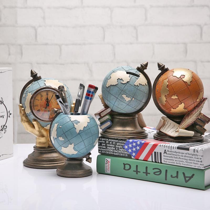 Spinning Globe Gold Desk Clock For Men Desktop Clock Home Decoration Copper Table Hand-winding Movement For Friends Goods Of Every Description Are Available Watches