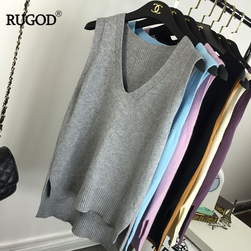 RUGOD Knit Vest Sleeveless Top Women Loose V-neck Candy Color Simplee Korean Style Sweater Casual Elegant Knitwear Winter 2019