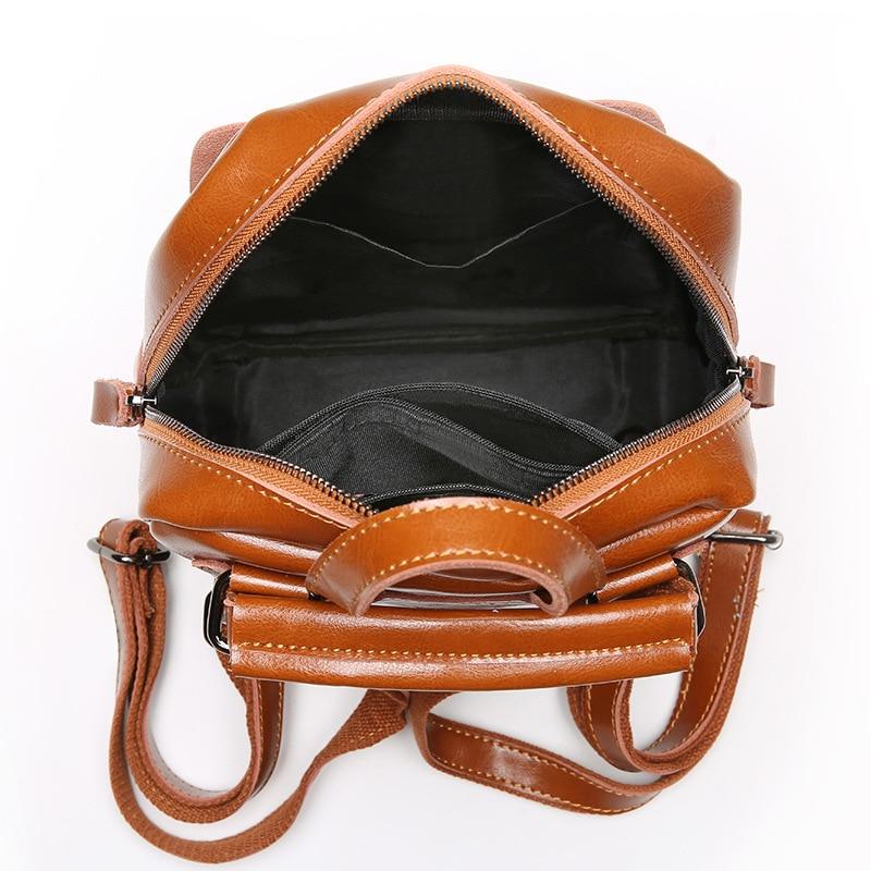 ZENCY Best Seller Classic Vintage Genuine Oil Wax Cowhide Cow Leather Women Girls Real Leather School Backpack Shoulder Bag