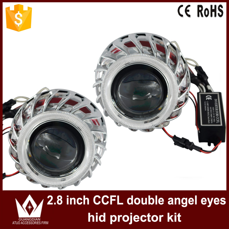 Tcart car led light 2.8'' inch ccfl Double angel eyes Halo ring lens light for headlight bixenon Projector Lens Light sinolyn 3 0 super hid bixenon lenses headlight car projector lens square u led angel eyes halo daytime running lights headlamp