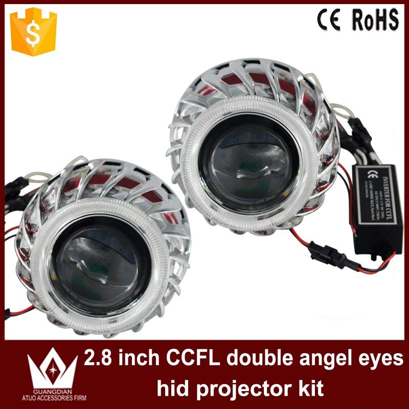 Tcart voiture lumière LED 2.8 ''pouces ccfl Double ange yeux Halo anneau lentille lumière pour phare bixenon projecteur lentille lumière