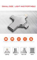 Pendrive cruzado 4 en 1 tipo C, unidad Flash USB para iPhone, PC, 128GB, 256GB