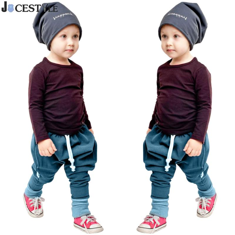 Spring Baby Boy Clothes Sets Kids Baby Long Sleeve T-shirt Tops+Harem Pants Outfit Set 2pcs Cotton Solid Color Children Clothing toddler infant baby kids boy girl clothes sets t shirt pants spring summer outfit long sleeve cute minions cartoon sweat