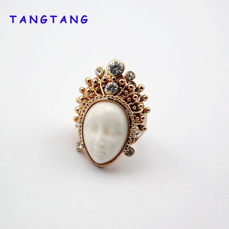 TANGTANG Brand Unique Handmade Fashion New Rhinestone Resin Figure Face Chinese Opera Rings For Party, Item NO.: R2347