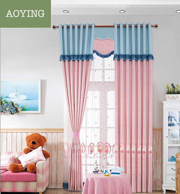 Cute pink hello kitty cartoon linen soft curtains for kids\' bedrooms ...