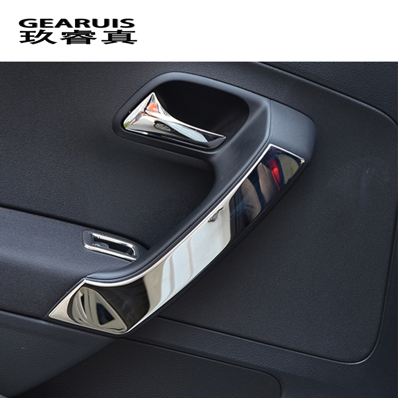 Car Styling For VW Volkswagen POLO 2011-2017 Car Door Armrest Handle Decorative Trim Cover Sticker Interior Auto Accessories