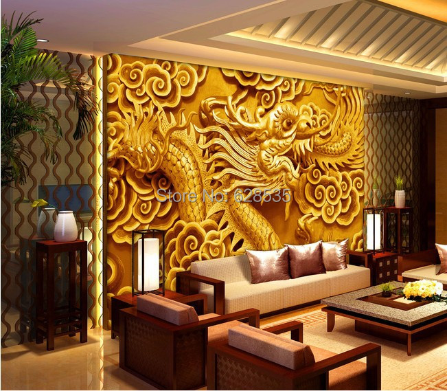 Aliexpress Com Buy Free Shipping Sitting Bed Room Tv Setting Wall 3d Wallpaper Chinese Dragon Water Proof Home Decor 3d Mural Wallpaper From Reliable