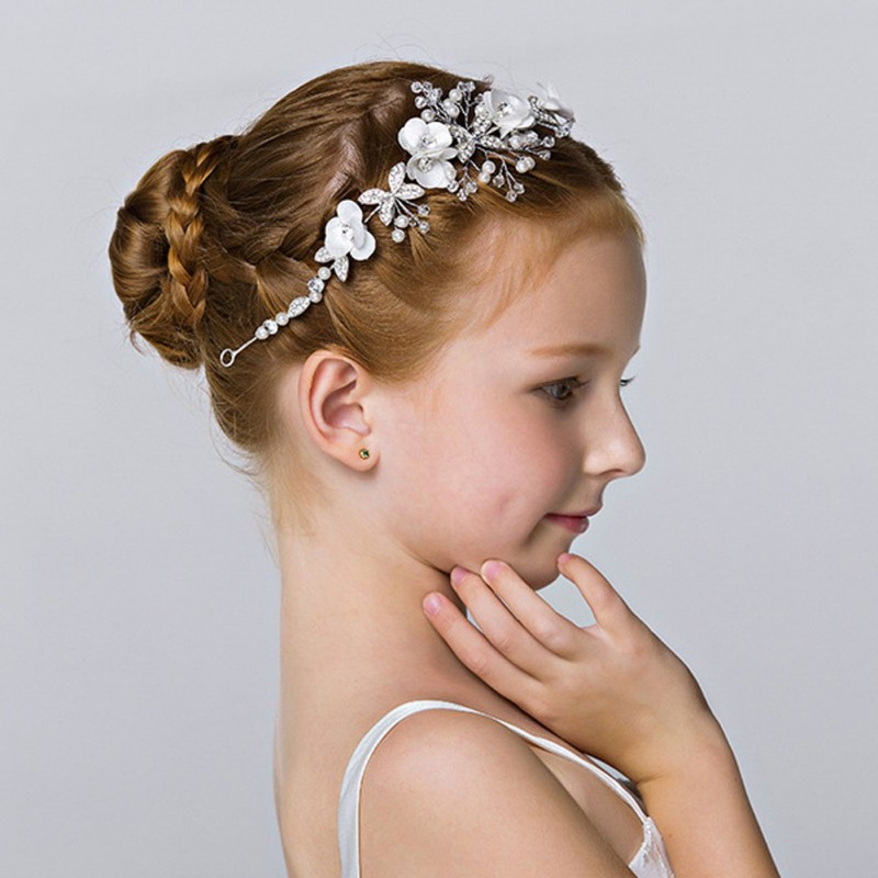 Baby Girl Hairband Headdress Wedding Baby Kids Wedding Bridesmaid Bridal Tiara Pearl Hair Band Hair Accessories
