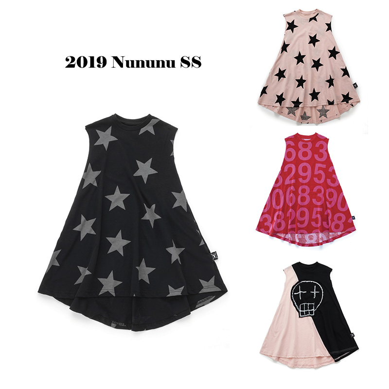 Kids Dresses 2019 Nununu Summer Girls Robot&star Print A line Dress Baby Children Lace New Fashion Clothes