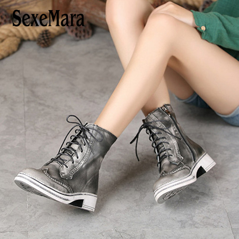 SexeMara Real Genuine Leather women Boots Lace-Up Round Toe Woman Motorcycle Boots Ladies Square heel Casual Shoes Size 35 40 beango fashion metal toe rivets women boots lace up round toe low heel motorcycle booties casual shoes woman big size 34 43eu