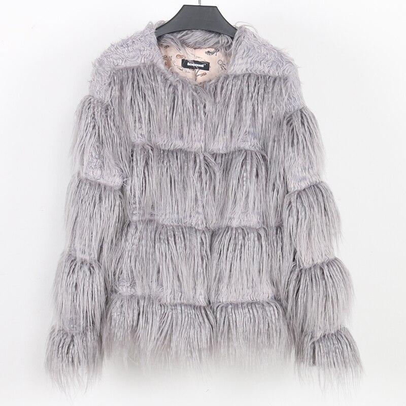 b881064791f07 Nerazzurri winter faux fur coat 2018 autumn women fashion long sleeve  striped hairy gray fake fur jacket plus size outwear 6xl