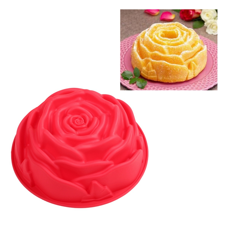 Larger Size Rose Cake Pan, Silicone Flower Form Pan for Baking FDA Test Approved Tools