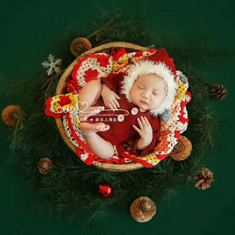 Newborn Photo Prop Baby Photo Prop. Baby Bonnet Mohair Knitted baby romper and bonnet set,Red color Newborn Bonnet Set