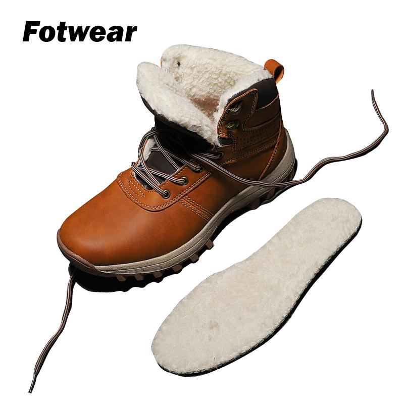 Fotwear Men's Winter Boots Casual Outdoor Shoes Cotton Shoes Plus Size Leather Boots Keeping Feet Warm And Dry Highly Durable