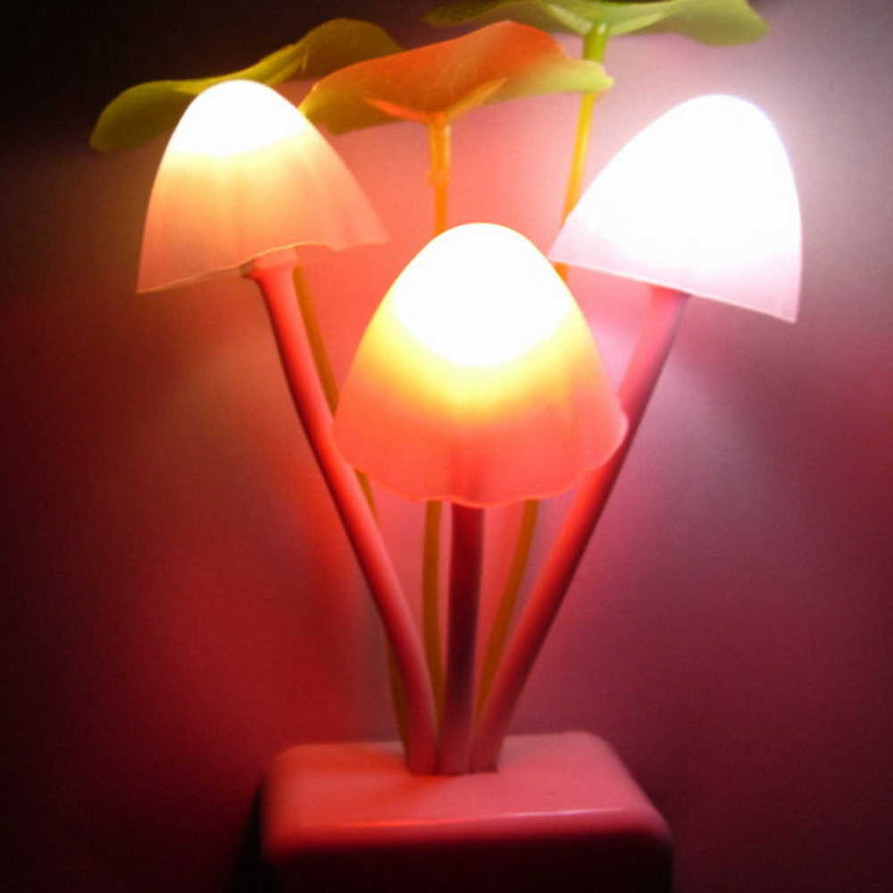 220V Sensor Dream Mushroom Fungus 3 Leds Lamp Night Lights Square/Vase Head US/EU Plug Electric Light  Mushroom Multi color HL