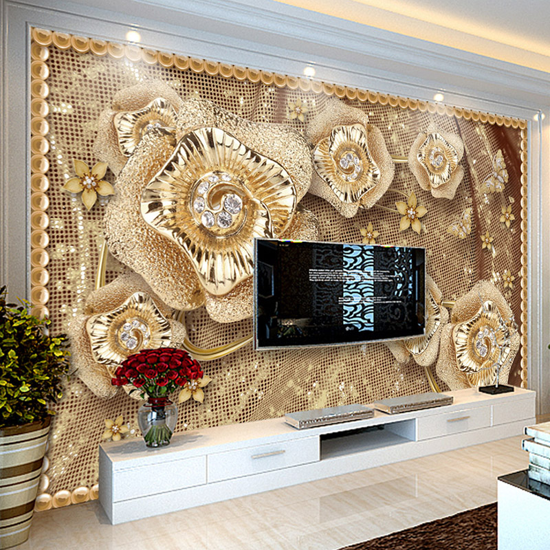 Custom Photo Wallpaper 3D Luxury Jewelry Flowers Murals Living Room TV Sofa Background Wall Cloth Eco-Friendly Papel De Parede