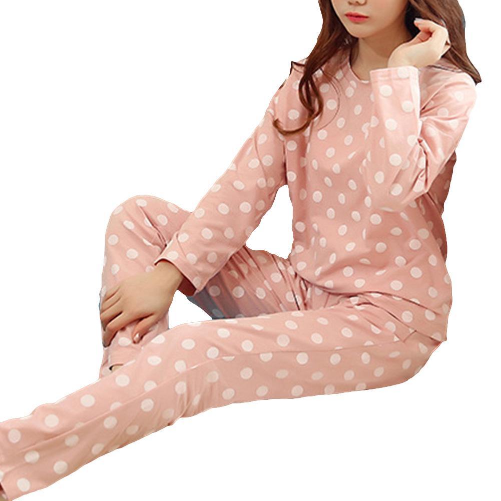 Polka Dot Flannel Pajamas Sets Winter Women Two Piece Pajama Set Cartoon Female Sleepwear Home Clothing Women's Pajamas Suit