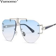 Borderless Sunglasses Women Trendy Fashion Vintage New Irregular Personality Oversized Glasses UV400 Oculus Female Eyeglasses
