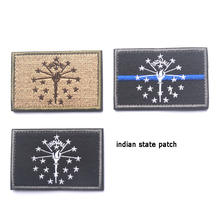 US Indiana State Flag Embroidery Patch USA American Military Morale Patches Tactical Emblem Applique Embroidered Badges