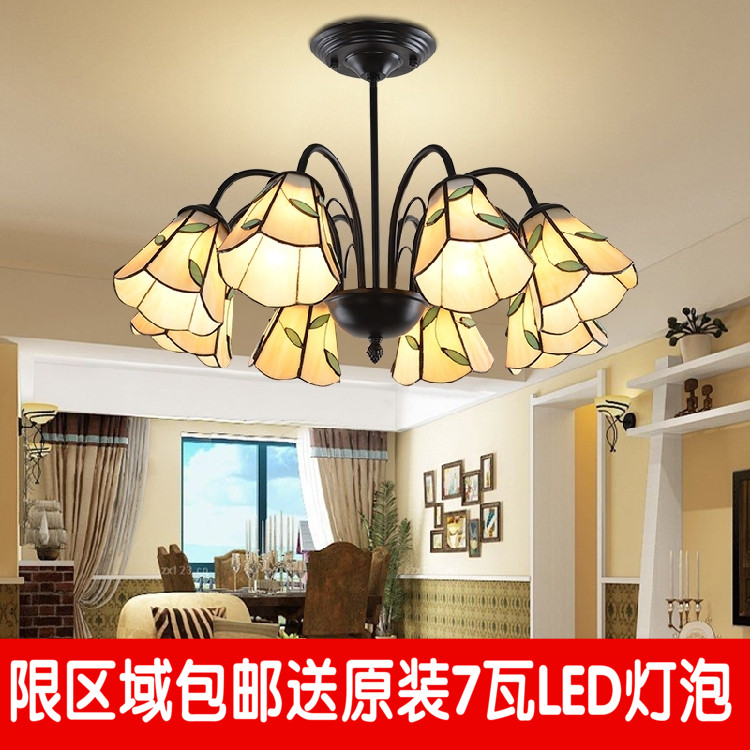 Tiffany Mediterranean Iron Chandelier dining room bedroom study stores the European and American modern minimalist lamps lateness and modern european literature