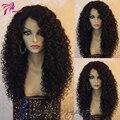 100% pelucas virginales Brasileñas del pelo humano rizado rizado peluca llena del cordón sin cola pelucas de pelo humano para las mujeres negras 150 densidad