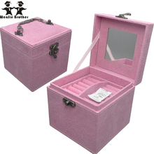 wenjie brother Professional quality 3 layer PU mini Makeup Case Beauty Case Cosmetic Bag cosmetic case Multi Tiers Jewelry Box