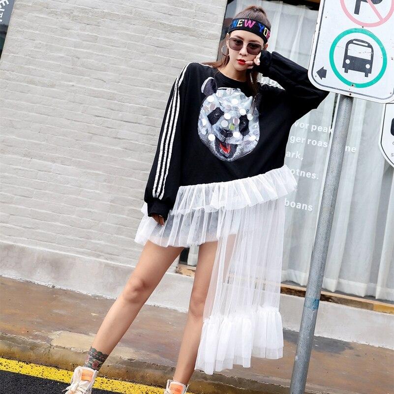SexeMara fashion The New Loose Sequin Stitching Mesh irregular Sweatshirt Free shipping