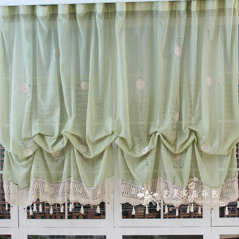 New Romantic Panel Green Fabric Adjustable Height Blackout Pocket-rod Curtain <font><b>Elegant</b></font> <font><b>Home</b></font> <font><b>Decorative</b></font> Balloon Curtain Livingroom