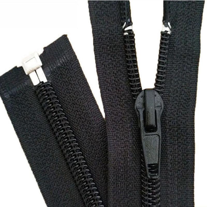 10PCS  Black 15-180cm Zippers Open End Zipper Nylon Zipper for Sewing Garments Long Coat Down Jacket, DIY Sewing sticker