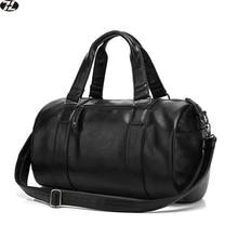 Haute qualité hommes voyage sac en cuir casual hommes sac à main vintage hommes épaule sac Preppy Style hommes messager polochon sac noir