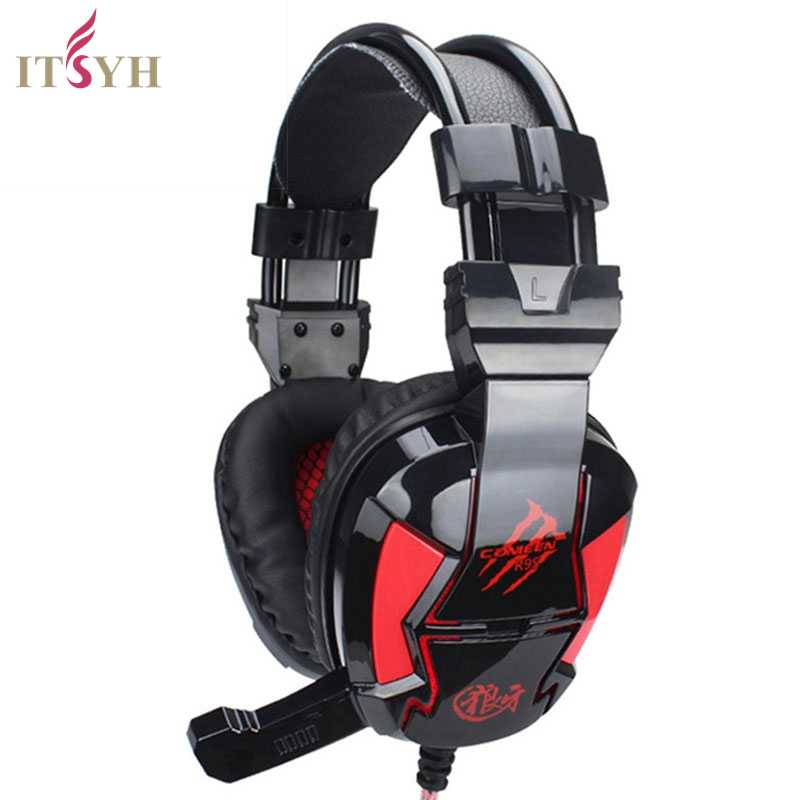 ITSYH Wired Gaming Headphone Deep Bass Game Earphone video game Computer headset with microphone led light for pc gamer TW-764 cd 618 crack led light cool headphone with microphone bass stereo headset earphone wired usb pro for computer gamer headband pc