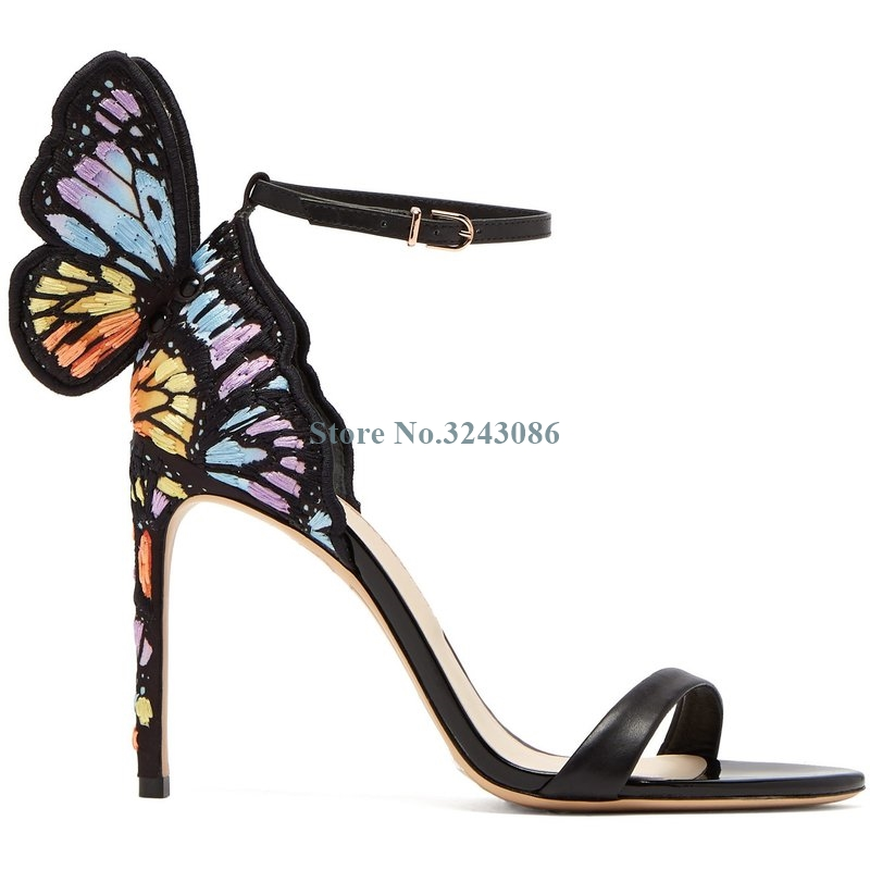 Colorful Embroider Butterfly Wings Thin High Heel Sandals Elegant Single Strap Stiletto Heel Sandals Women Summer Party Shoes