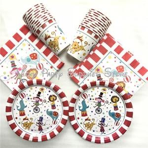 Image 1 - 80pcs/lot Cartoon Creative Circus Theme Birthday Party Tablewear Set Disposable Napkins Plates Cups Set Circus Party Supplies