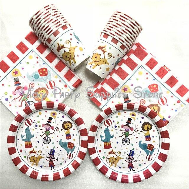 80pcs/lot Cartoon Creative Circus Theme Birthday Party Tablewear Set Disposable Napkins Plates Cups Set Circus Party Supplies
