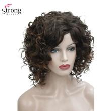 StrongBeauty Medio Parrucca di Capelli Ricci Marrone delle Donne Sintetica Senza Cappuccio Parrucche di capelli Naturali