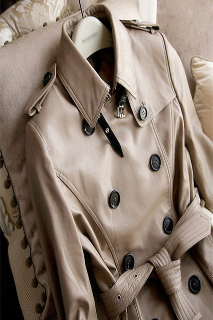 2018 new designer Khaki soft matte leather classic style two line button with belt women lady autumn winter Slim Long Trench
