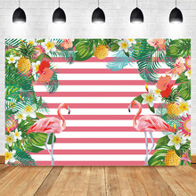 NeoBack Summer Flamingo Backdrop Birthday Photo Background Flower Green Leaves Pink White Stripe Photography Backdrops