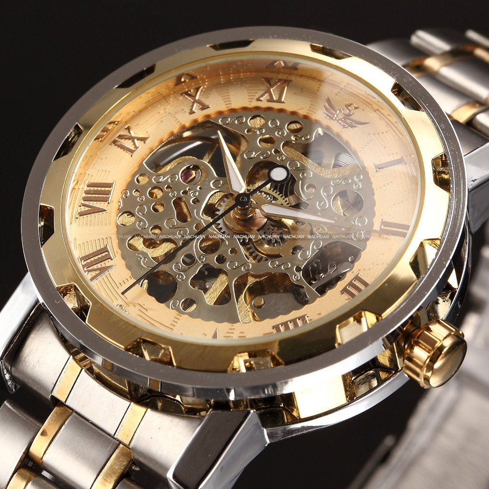 SEWOR Gold Men Skeleton Mechanical Watch Stainless Steel Hand Wind Watches for men Transparent Steampunk Montre Homme Wristwatch куплю стекло в йошкар оле 8 мм