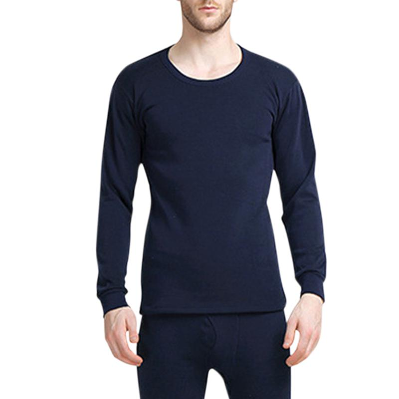 MISSKY 2019 Winter 2PCS/Set Men Solid Color Thermal Underwear Thickened Low Collar Warm Winter Thermal Set