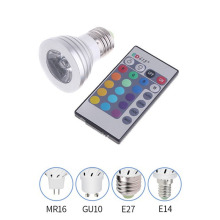 E27 RGB LED Bulb Remote Control Spot Light 16 Color Changing Spotlight Lamp Colourful 3W light 24 key IR remote Free shipping M4