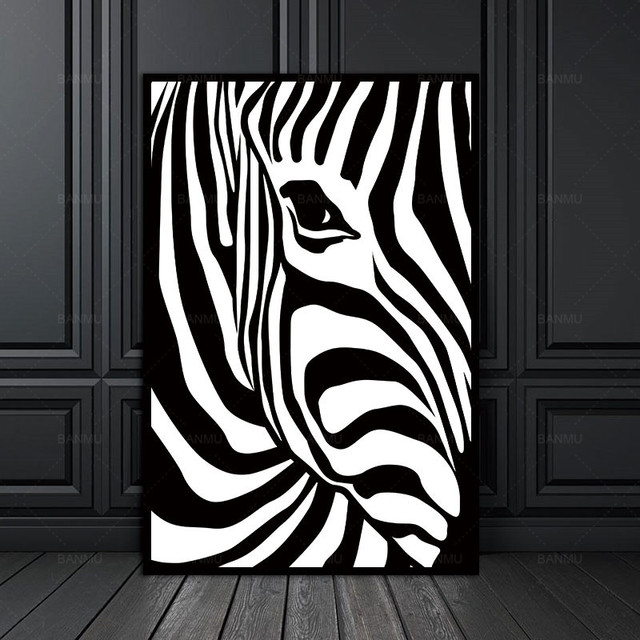 Canvas painting prints no frame scandinavian zebra stripes nordic abstract wall pictures for living room art