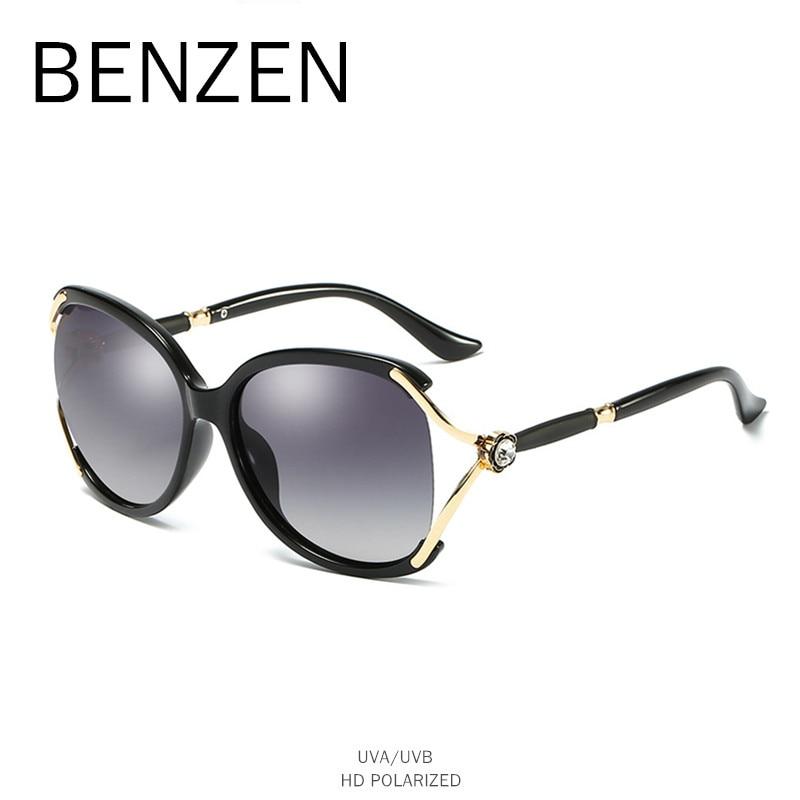 BENZEN Luxury Rhinestone Sunglasses Women Polarized Female Sun Glasses UV400 Ladies Shades Driving Glasses Black With