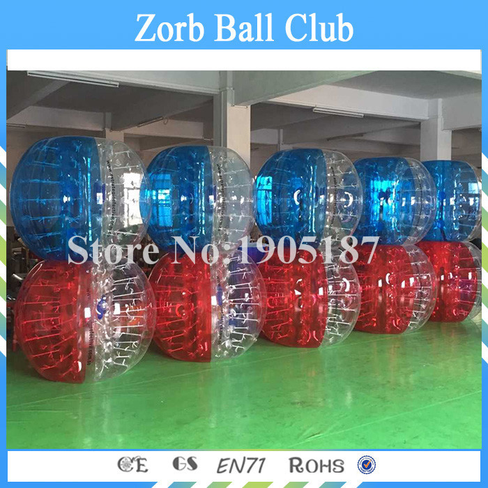 Free Shipping 10PCS(5Red+5Blue+2Pump) 1.0mm 100%TPU Bumper Ball,Bubble Soccer Suit,Bubbl ...