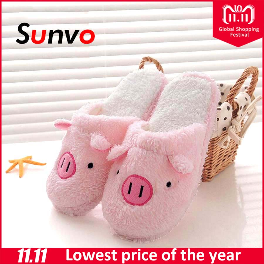 0ff4334fee0f Sunvo Winter Warm Flip Flop Slippers Unisex Lovely Pig Indoor Home Floor  Cotton Plush Shoes Sole