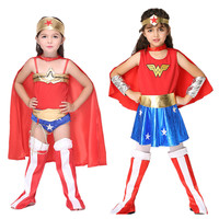 Kids Girls Wonder Woman Cosplay Costume Superhero Dress Top Skirt Headwear