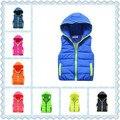 ¡ Venta caliente! 2016 Nuevos Niños del otoño/invierno chaleco con capucha bebé niños y niñas ocio cómodo chaleco de la marca
