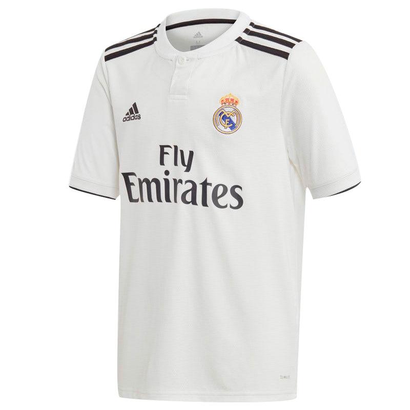 Real madrid 2018 2019 Boy Adidas-Football Shirt polyester WHITE-soccer jerseys, Adidas camiseta REAL MADRID nuevo 2018